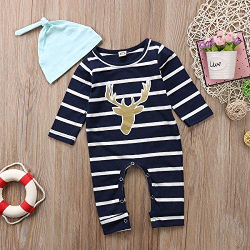 Infant Boys Long Sleeve Pant - Aliven 3pcs/Set Newborn Baby Boys Girls Striped Long Sleeve Deer Tops Pants Hat Outfits