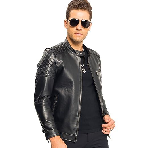 067038e7731e LINAILIN Genuine Leather Jacket Men Short Style Sheepskin Moto Biker Coat  Slim Casual Jacket at Amazon Men s Clothing store