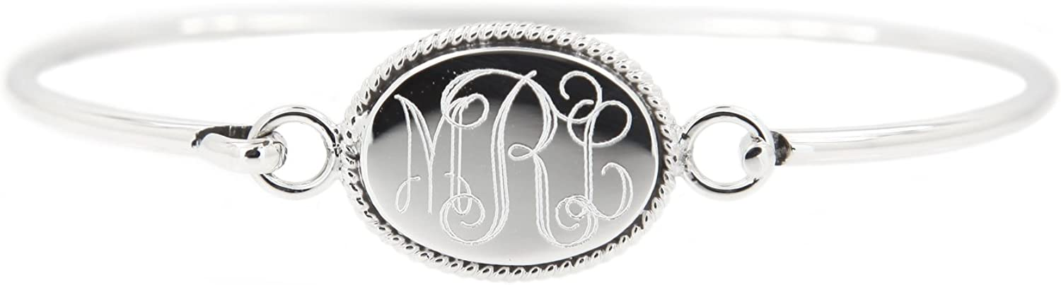Lgu Sterling Silver Polished Spasm price Oxidized Monogrammable F Engravable 2021 new