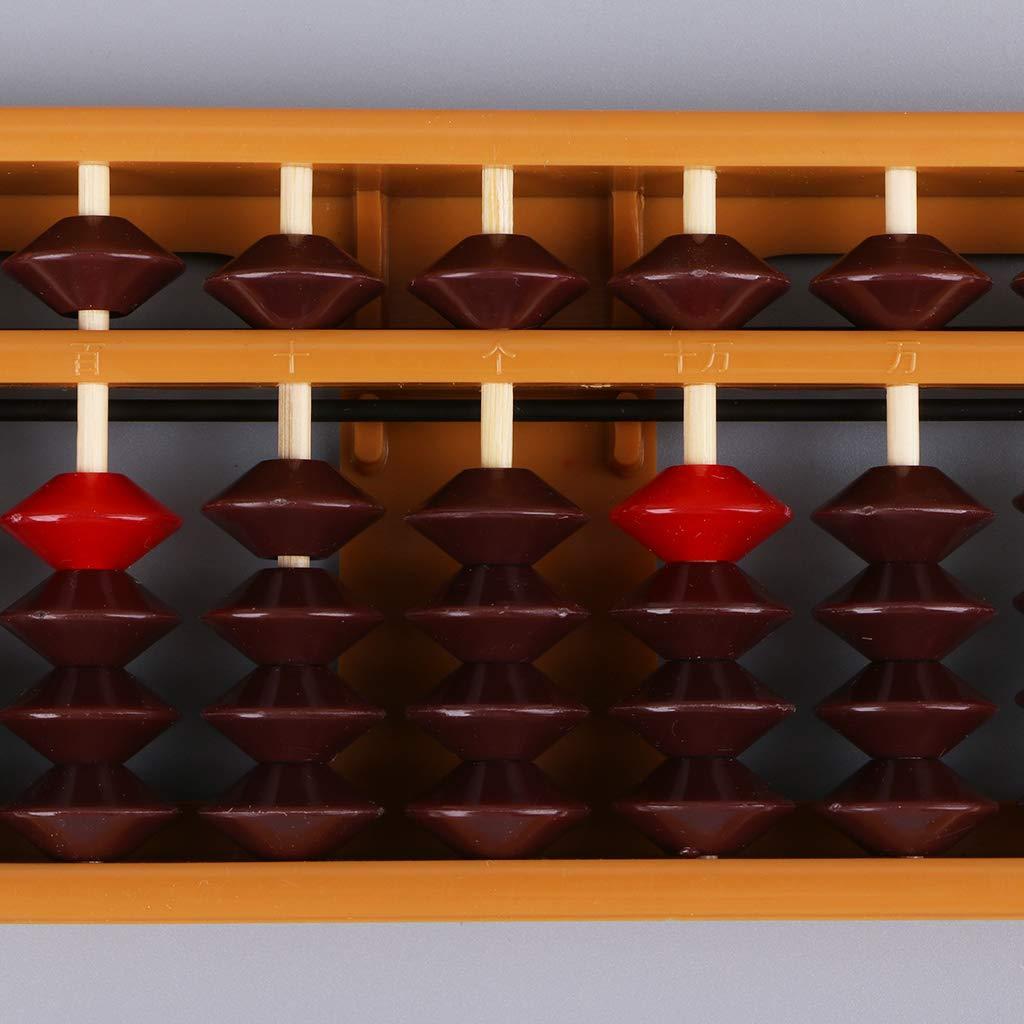 Meatyhjk Tragbare Japanische 13 Ziffern S/äulenspalte Abacus Arithmetische Soroban Kakulationsklasse Mathematik Lernwerkzeug braun
