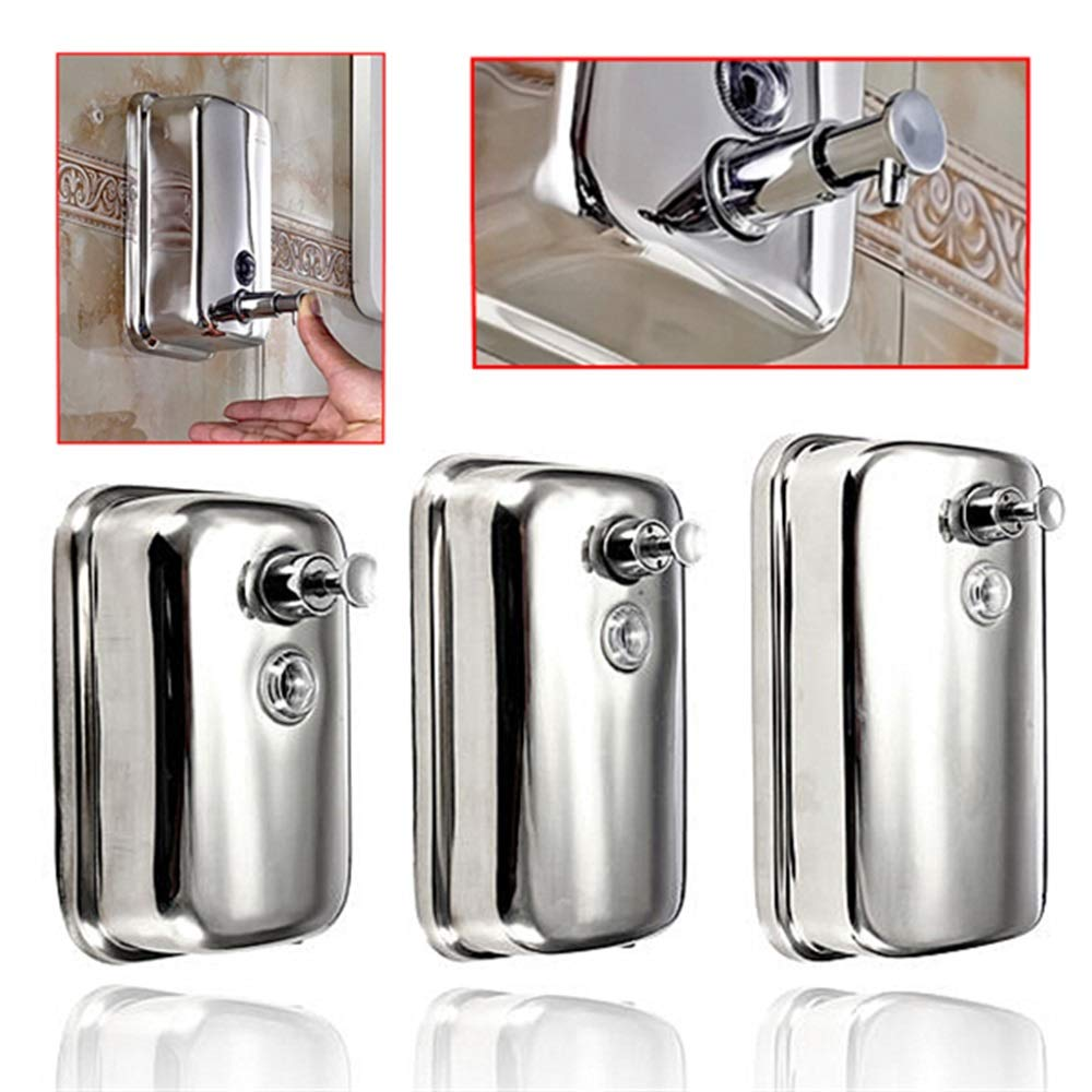 Tuersuer Easy to Assemble Wall-Mounted Soap Dispenser Stainless Steel Liquid Soap Box for Kitchen Bathroom (Color : 800ml)