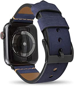 Leather Watch Band, Compatible with Apple Watch 42mm, 44mm, 40mm, 38mm, Matte Finish Genuine Leather Strap, Compatible with Apple Watch Series 4, 3, 2, 1, Edition and Sport (Blue, 42mm / 44mm)