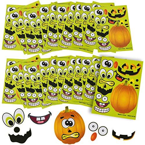 Tigerdoe Halloween Stickers - 24 Sheets Kids Jack O' Lantern Pumpkin Stickers -