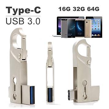 SETAYO 64GB USB-C a USB 3.0 Flash Drive Memory Stick con llavero para el MacBook Pro, Samsung Chromebook Además, Nexus 6P 5X, Google píxeles, G5 LG, ...