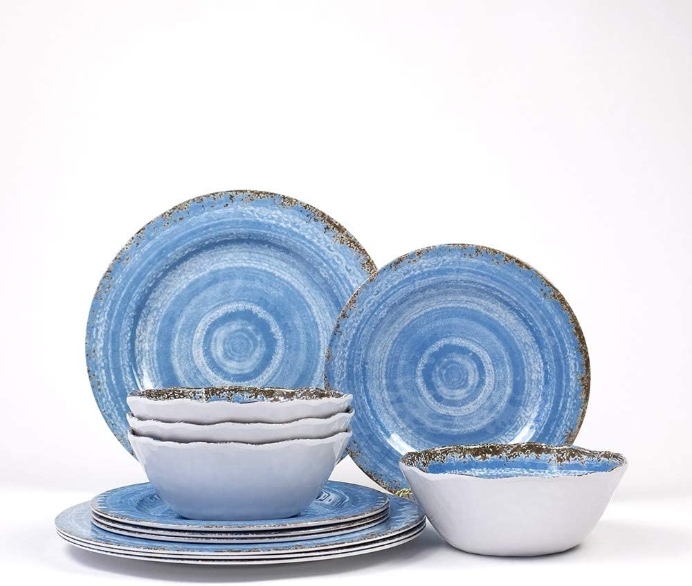 12-Piece Melamine Dinnerware Set | Rustic Blue Design