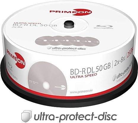 PRIMEON 2761318 BD-R DL - Caja para cakebox (25 Discos), Color Plateado: Amazon.es: Informática