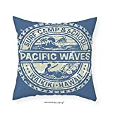 VROSELV Custom Cotton Linen Pillowcase Modern Pacific Waves Surf Camp and School Hawaii Logo Motif with Artsy Effects Design for Bedroom Living Room Dorm Khaki Slate Blue 12''x12''