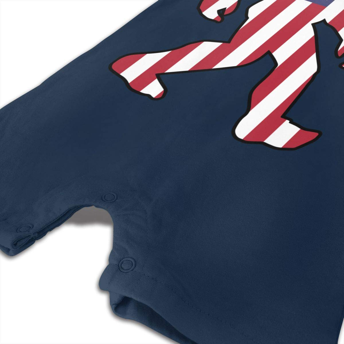 Just Born Baby Boys Girls Bodysuits Patriotic Bigfoot American Flag1-1 Cotton Short Sleeve Romper Bodysuit