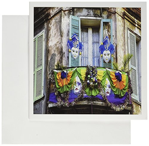 3dRose Print of Mardi Gras Balcony in New Orleans, Greeting Cards, Set of 6 (gc_200409_1) (Mardi Gras Invitations Wedding)