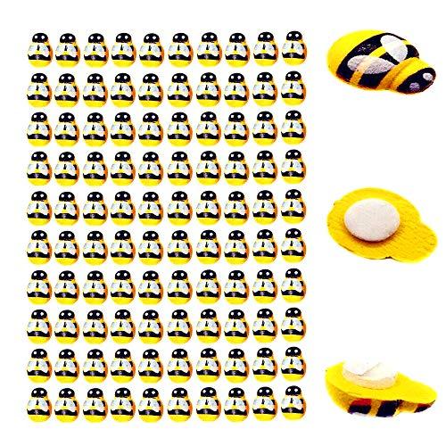 ZXUEZHENG 100 Pack Tiny Wooden Bee Flatback Embellishment for Craft Scrapbooking DIY Decor