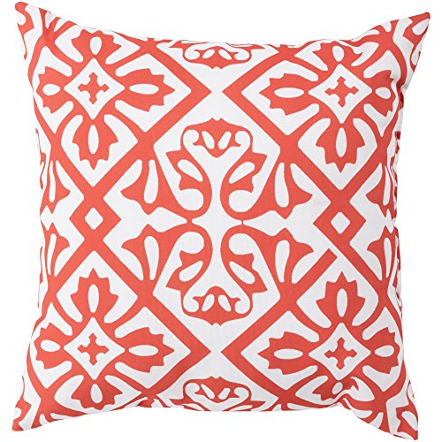 Surya RG068-1818 Indoor/Outdoor Pillow, 18-Inch by 18-Inch, (Surya Coral)