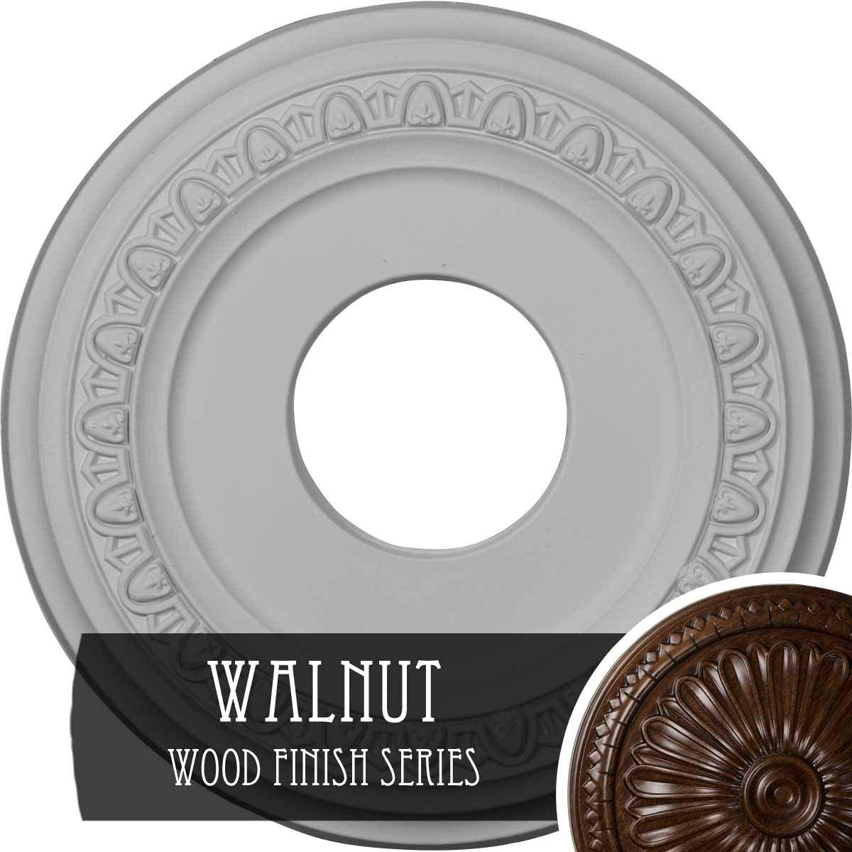 Hand-Painted Walnut 12 1//4OD x 4ID x 1 1//8P Fits Canopies up to 7 3//8 Ekena Millwork CM12JAWAS Jackson Ceiling Medallion