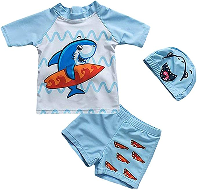 Baby Toddler Boys Two Pieces Swimsuit Set Boys Short Sleeve Bathing Suit Rash Guards with Hat UPF 50+