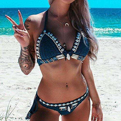 ba bohemio Adeshop hecho ba mujeres traje playa Set azul de ropa de mano a elegante punto de elegante o o sujetador playa adelgaza Bikini 1dPdwqr