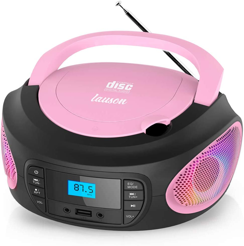 Lauson LLB599 Boombox with Cd Player Mp3 | Portable Radio CD-Player Stereo with USB | Cd Player for Kids | LED Light Function | Headphone Jack 3.5mm (Pink)
