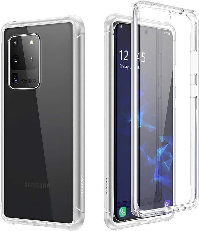 Suritch Kompatibel Mit Samsung Galaxy S20 Ultra Hülle Transparent 360 Grad Stoßfest Schutzhülle Durchsichtig Handyhülle Hybrid Rundumschutz Mit Displayschutz Und Silikon Tpu Bumper Klar Elektronik