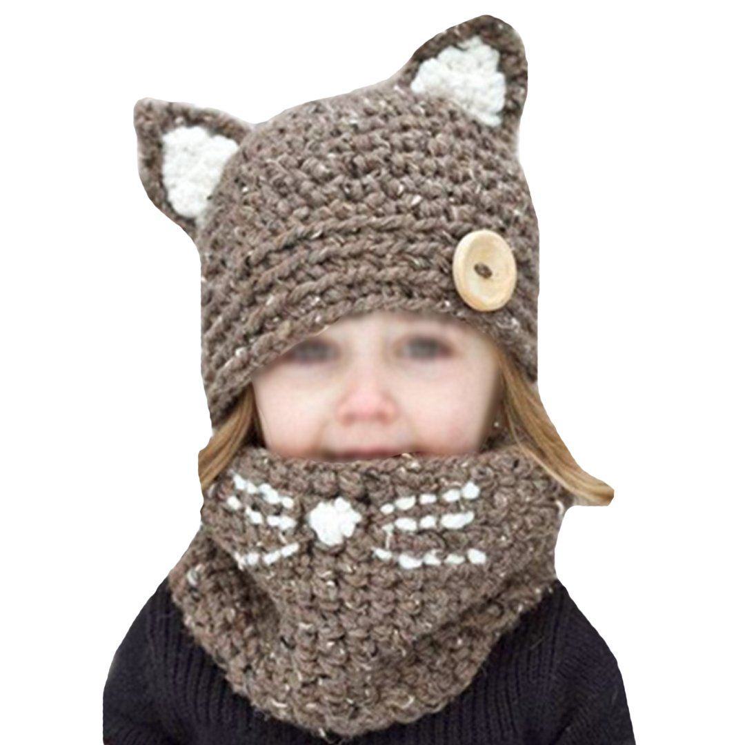 Millya Kids 2 in 1 Winter Knitted Hat and Circle Scarf Set Warm Beanie Hat Fleece Lined Skull Cap Thermal Neckercheif, 2-10 Years Old 2-8 Years Old mz-00955-02CQ