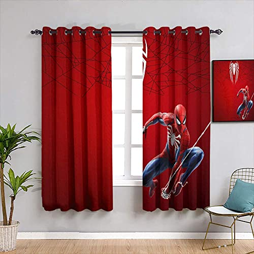Movie Spiderman Home Curtains Printed Design Noise Reducing Thermal Insulated Window Draperies