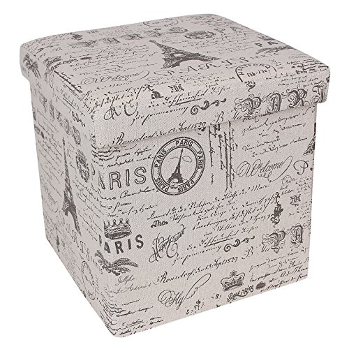 (SONGMICS Storage Ottoman Cube Footrest Stool Puppy Step, Holds Up to 660lb, Linen-Like Fabric, Paris Eiffel Tower Script Pattern)