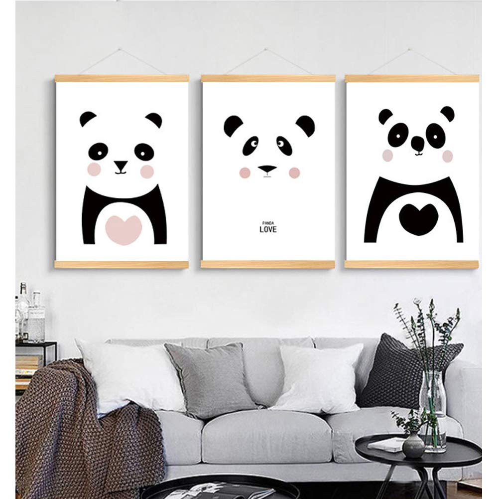 Children's Solid Wood Scroll Painting Children Bedroom Environmental Protection Decorative Painting,Painting Decoration Pictures Set of 3 (12x16in) for Kids Bedroom Nursery Wall Decor Gift (Panda)