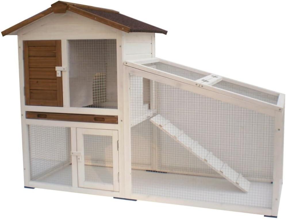 Zoolox Conejera de 2 Pisos, 140 x 65 x 100cm. Color Blanco.