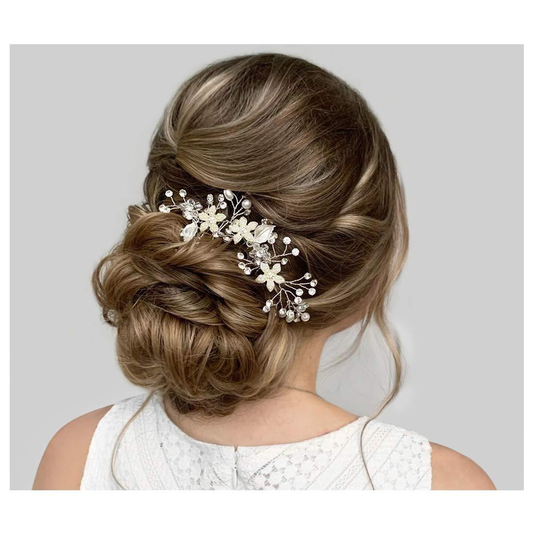 SWEETV Wedding Hair Comb Silver Pearl Flower Bridal Clip Rhinestone Hair Accessories for Bride Women by SWEETV