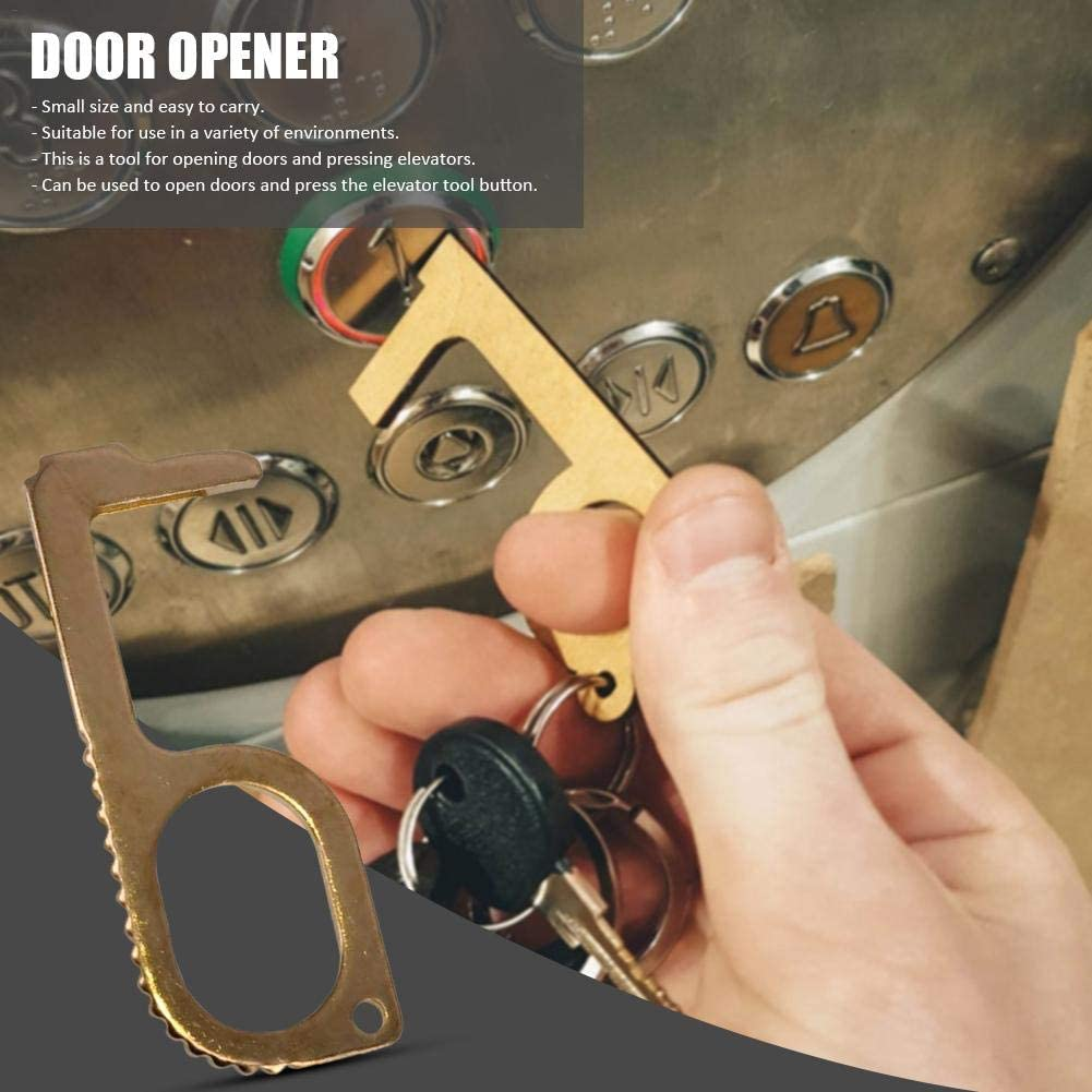 Portable Brass Keychain Tool gaeruite No-Touch Door Opener Closer Hygienic Brass Keychain Clean Key for Never Touch Anything Again EDC Non-Contact Door Opener