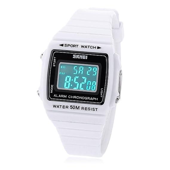 Leopard Shop Skmei 1136 Unisex Reloj digital deportivo Alarma LED luminoso fecha Display banda de goma 50 m resistente al agua reloj de pulsera Blanco: ...