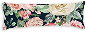 Pink Creme Rose Watercolor Floral Pattern Ultra Soft Microfiber Long Body Pillow Cover Pillowcases with Hidden Zipper Closure for Kids Adults Pregnant Women, 20
