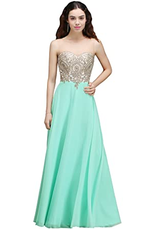 Babyonlinedress Womens Maxi Long Lace Appliques Chiffon Wedding Party Prom Dresses