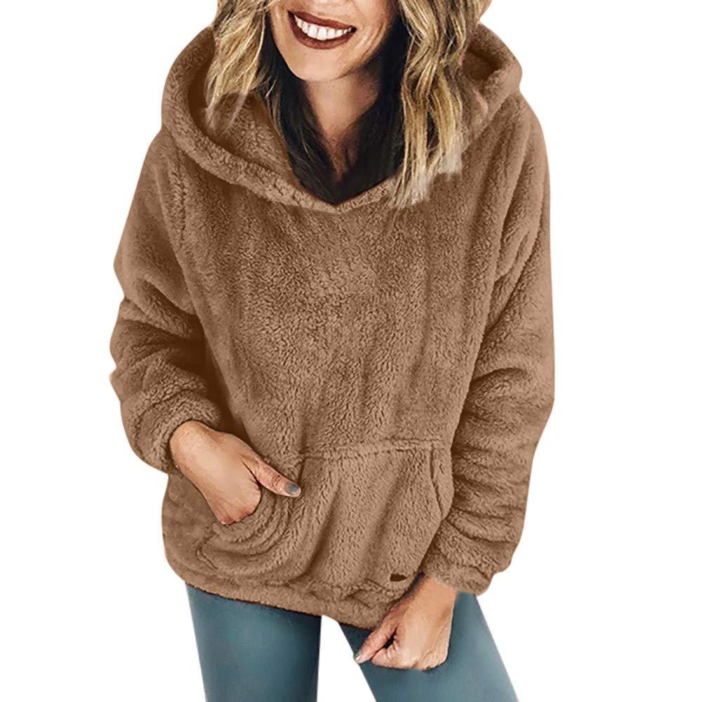 Hanomes Damen pullover, Frauen mit Kapuze Sweatshirt Mantel Winter warme Wolle Taschen Baumwolle Mantel Outwear