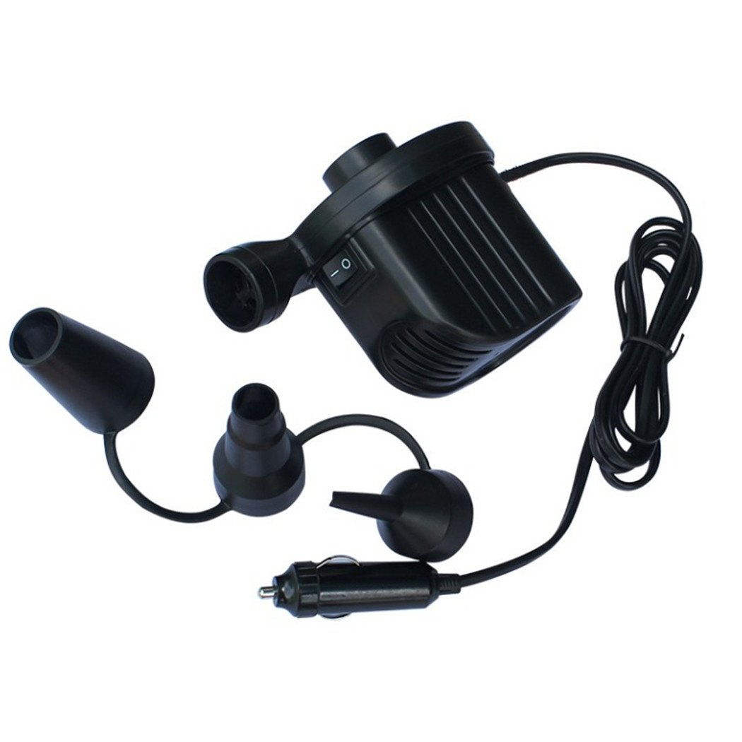MarketBoss Quick-Fill Electric Air Pump with 12V-DC Car Cigarette Lighter Plug for Swimming Pool Airbed Mattress Sofa Tub Boat Infaltion Deflation