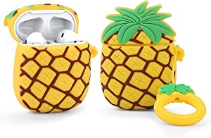 LEWOTE Airpods Silicone Case Funny Cute Cover Compatible for Apple Airpods 1&2[Fruit and Vegetable Series][Best Gift for Girls or Couples] (Pineapple)