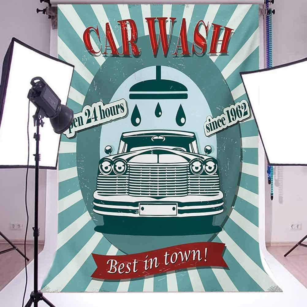 10x12 FT Photo Backdrops,Vintage Graphic Design for a Car Wash Sign Commercial with Aged Classic Retro Arsty Background for Baby Shower Birthday Wedding Bridal Shower Party Decoration Photo Studio