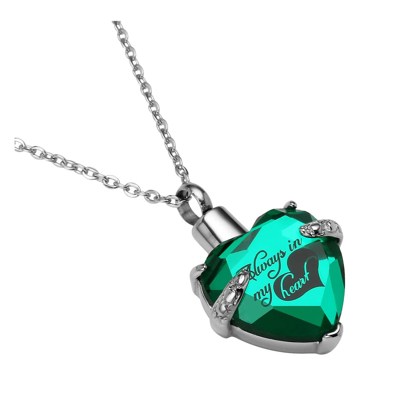 Zysta Free Engraving - Personalized Custom Always In My Heart Small Cremation Keepsake Urn Pendant Necklace for Ashes of Loved One In (Green, Engraving)