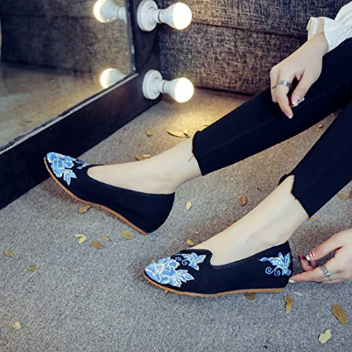 YIBLBOX Women's Chinese Traditional Loafer Flats Shoes Rubber Sole Strappy Flower Embroidery Dress Shoes Slip On Casual Shoes Black 0NtFyt6pT