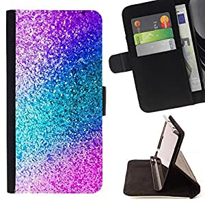 For Apple Iphone 5C Glitter Teal Purple Sparkling Watercolor Style PU Leather Case Wallet Flip Stand Flap Closure Cover