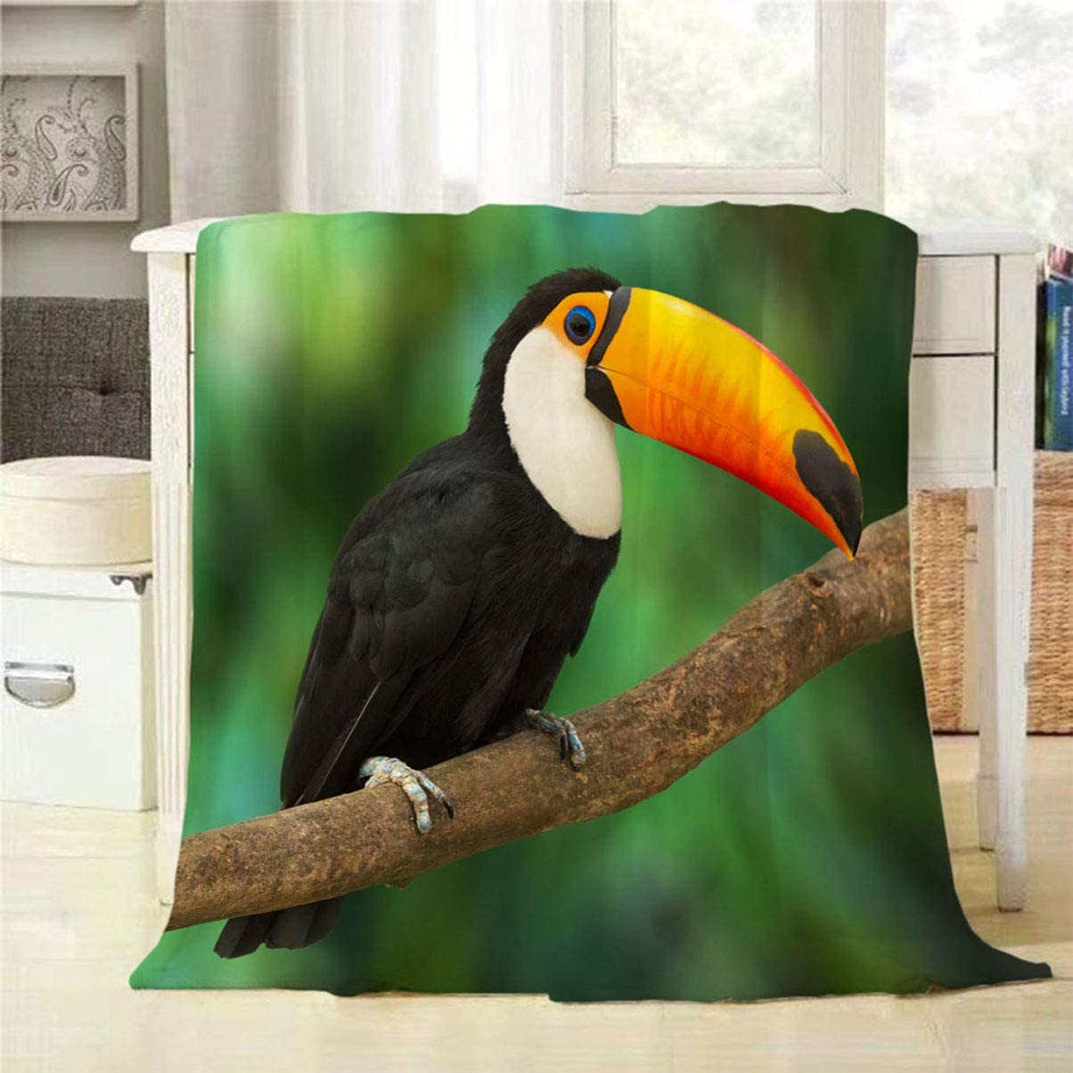 Mugod Black Toucan Throw Blanket Toucan Sitting on Tree Branch in Tropical Forest or Jungle Decorative Soft Warm Cozy Flannel Plush Throws Blankets for Baby Toddler Dog Cat 30 X 40 Inch