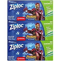 Ziploc Brand Sandwich Bags Featuring Marvel Studios' Avengers: Infinity War Designs, 66 ct, 3 Pack