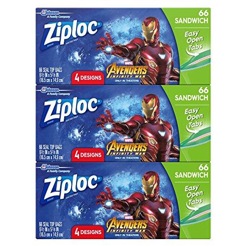 Ziploc Brand Sandwich Bags Featuring Marvel Studios' Avengers: Infinity War Designs, 66 ct, 3 Pack -