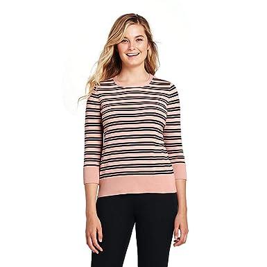 b58ad1c67548 Lands' End Women's Supima 3/4 Sleeve Print Sweater at Amazon Women's ...