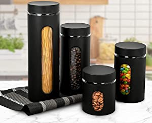 Canister Sets for Kitchen Counter - Matte Black Kitchen Decor and Accessories - Glass Canisters Sets for the Kitchen - Sugar Containers for Countertop - Kitchen Canisters Set of 4