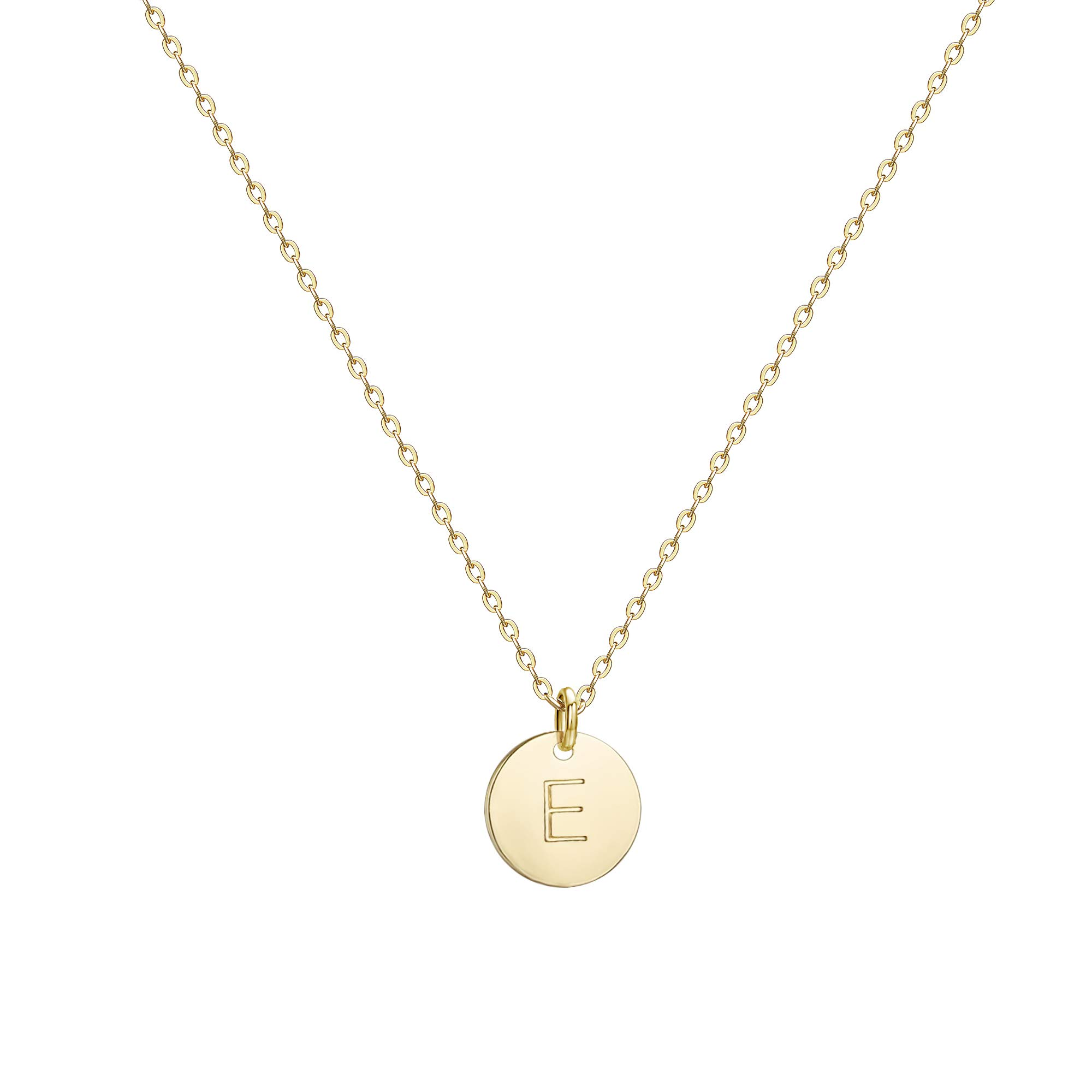 b40a07d68 Galleon - Befettly Initial Necklace Pendant 14K Gold-Plated Round Disc  Double Side Engraved Hammered Choker Necklace 16.5'' Adjustable Personalized  Alphabet ...
