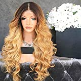 Wicca Brazilian human hair Ombre blonde Full lace wigs Dark root Loose wave Lace front wig Bleached knot Pre plucked hairline 150%density (20inch, Lace Front Wigs 150% Density)