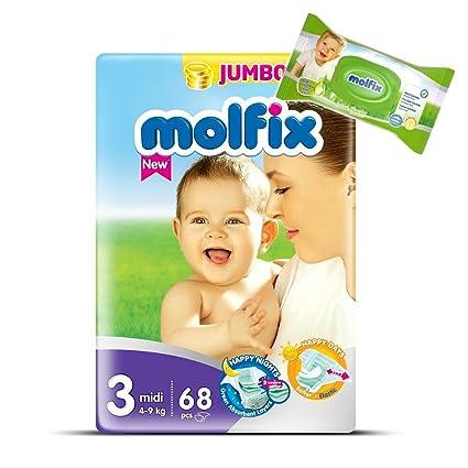 """Pañales Tamaño 3 """"Midi molfix bebé pañales Jumbo pack + 40 toallitas molfix Talla"""
