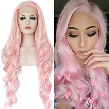 Amazon.com   Ebingoo Natural Long Wave Pink Synthetic Front Lace Wig For White  Women 18 inch   Beauty 916be31306