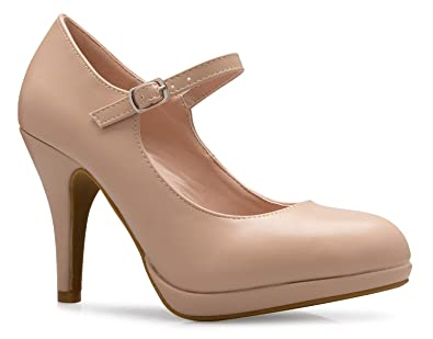 67bd418cd949 Image Unavailable. Image not available for. Color  OLIVIA K Women s Mary  Jane High Heel - Cute Round Toe ...
