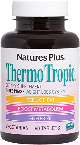 NaturesPlus Thermo Tropic – 100 mg Garcinia Cambogia, 90 Vegetarian Tablets – Weight Loss Support Supplement, Promotes Fat Loss, Boosts Metabolism Energy – Gluten-Free – 45 Servings