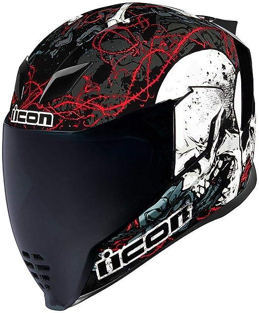Icon Airflite Skull Motorrad Helm Schwarz Weiss Gr E 3xl 65 66 Cm Sport Freizeit
