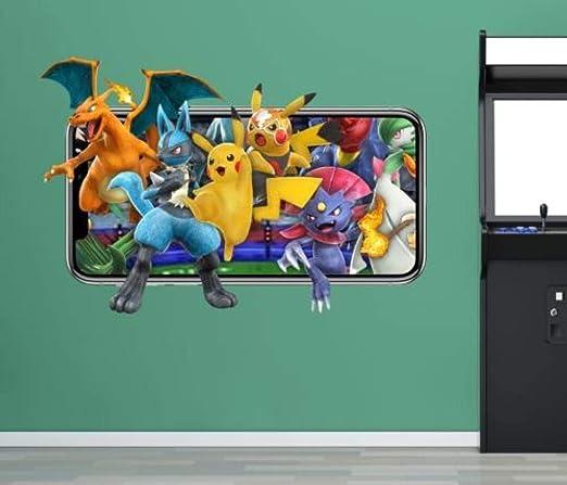 Auuua Wandtattoos Wandtattoo Pokemon Wandtattoos Handy Videospiel Aufkleber Dekorative Wand Vinyl 3d Kinderzimmer Amazon De Baumarkt